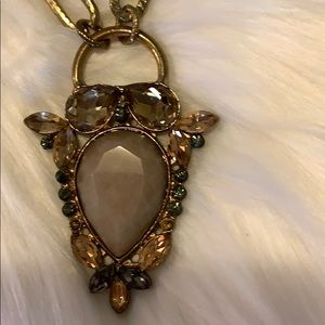 Jewelry - Necklace long clear brow stones in Owl pendant
